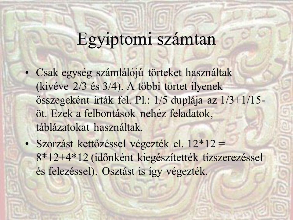Egyiptomi számtan Csak egység számlálójú törteket használtak (kivéve 2/3 és 3/4). A többi törtet ilyenek összegeként írták fel. Pl.: 1/5 duplája az 1/