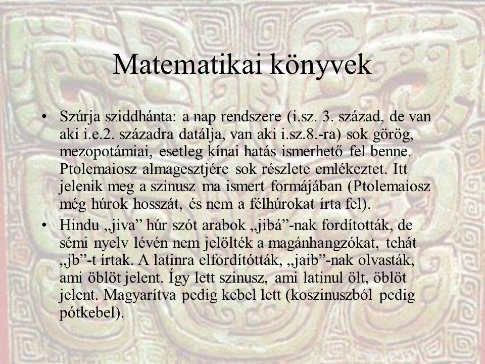 Matematikai könyvek Szúrja sziddhánta: a nap rendszere (i.sz. 3. század, de van aki i.e.2. századra datálja, van aki i.sz.8.-ra) sok görög, mezopotámi