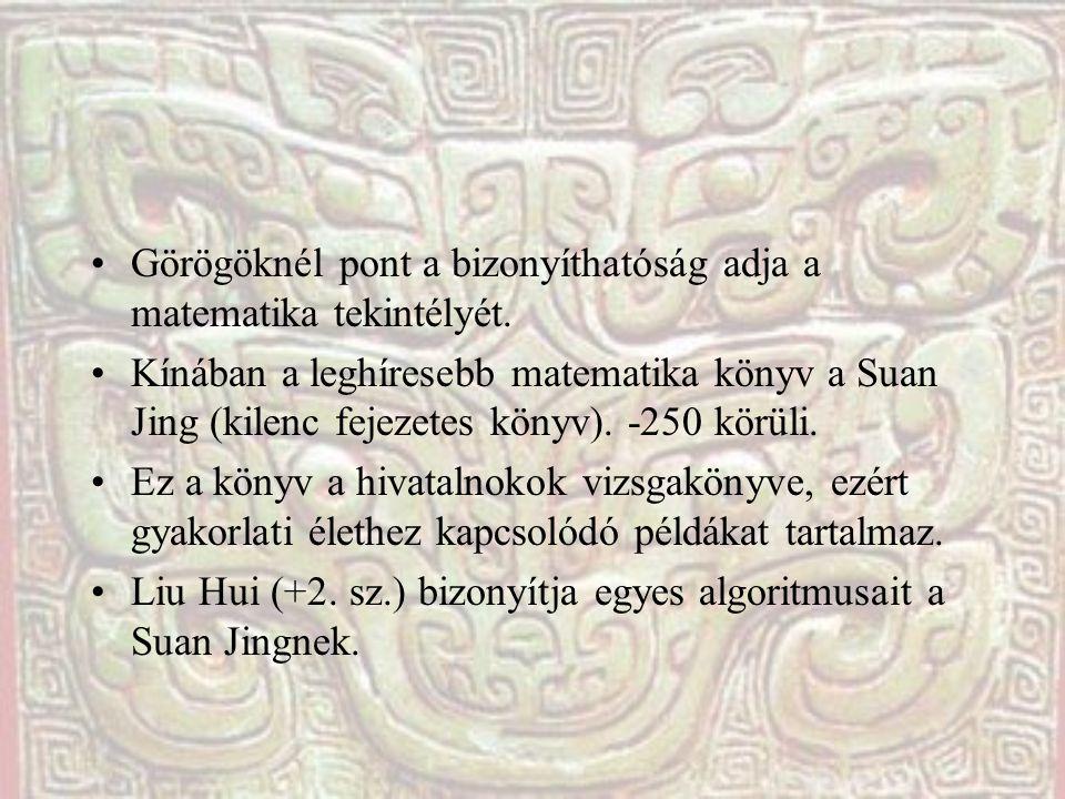 Görögöknél pont a bizonyíthatóság adja a matematika tekintélyét. Kínában a leghíresebb matematika könyv a Suan Jing (kilenc fejezetes könyv). -250 kör