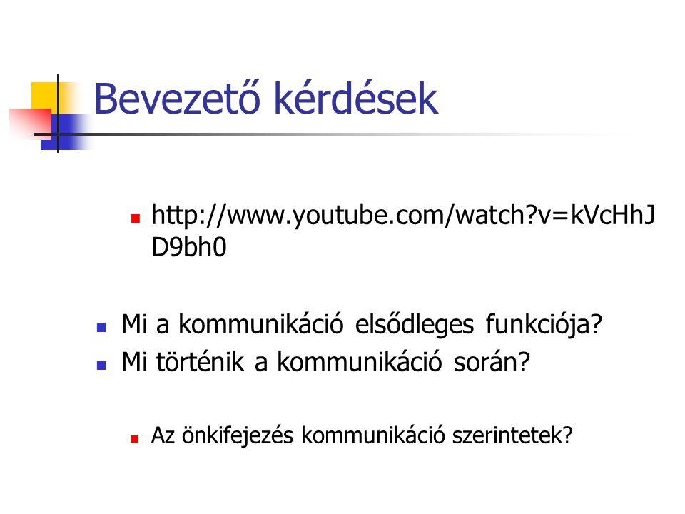Bevezető kérdések http://www.youtube.com/watch v=kVcHhJ D9bh0 Mi a kommunikáció elsődleges funkciója.