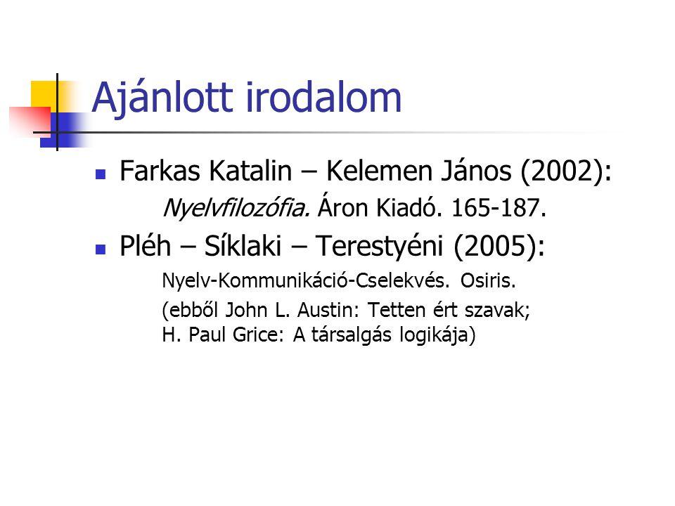 Ajánlott irodalom Farkas Katalin – Kelemen János (2002): Nyelvfilozófia.