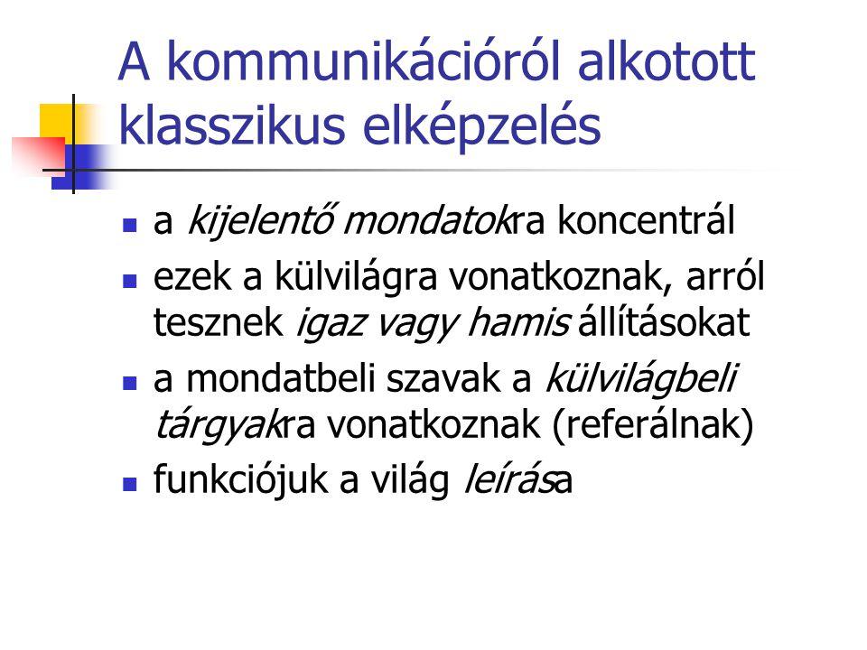 Beszédaktusok A beszédaktusok a verbális kommunikáció egységei.