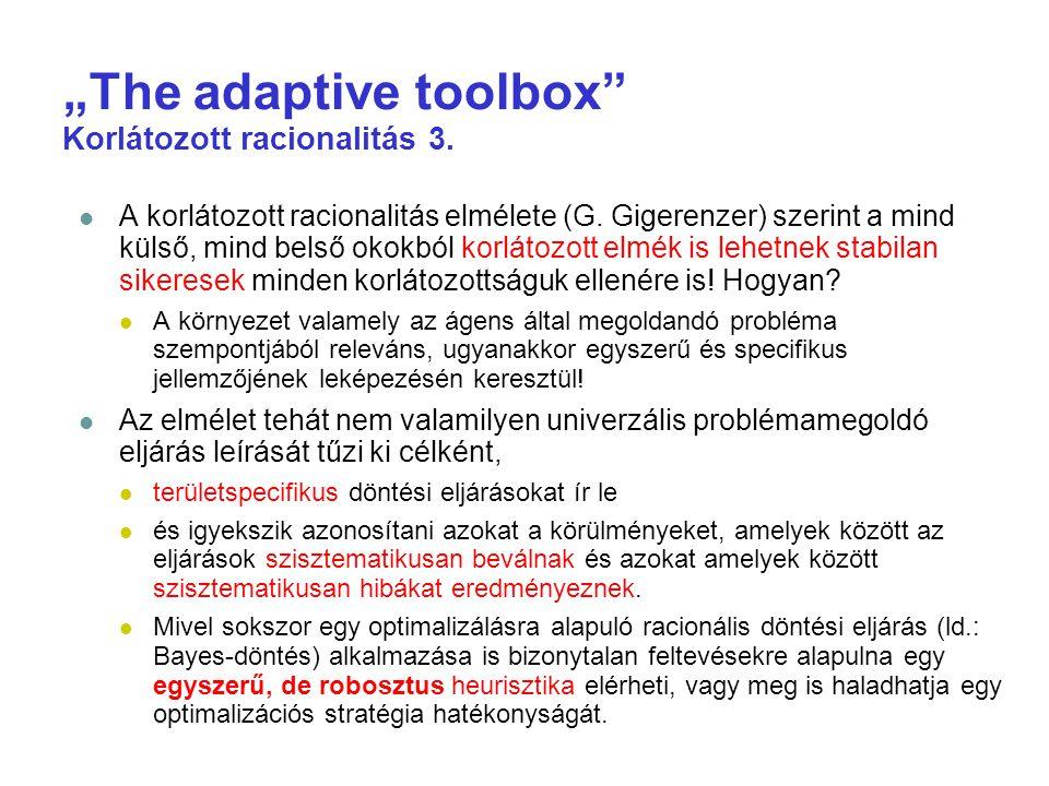 """""""The adaptive toolbox Korlátozott racionalitás 3."""