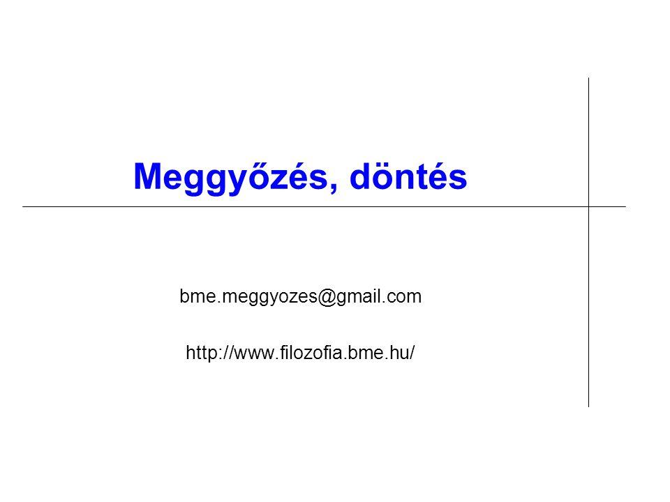 Meggyőzés, döntés bme.meggyozes@gmail.com http://www.filozofia.bme.hu/