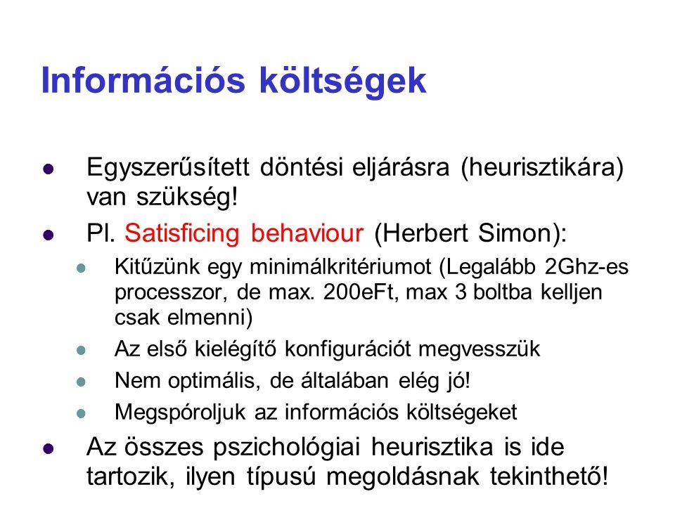 Információs költségek Egyszerűsített döntési eljárásra (heurisztikára) van szükség! Pl. Satisficing behaviour (Herbert Simon): Kitűzünk egy minimálkri