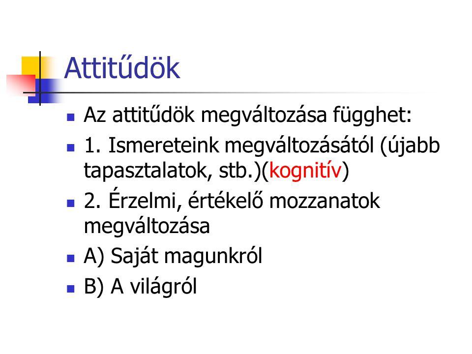 Attitűdök Az attitűdök megváltozása függhet: 1.