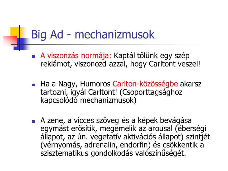 Big Ad - mechanizmusok A viszonzás normája: Kaptál tőlünk egy szép reklámot, viszonozd azzal, hogy Carltont veszel.