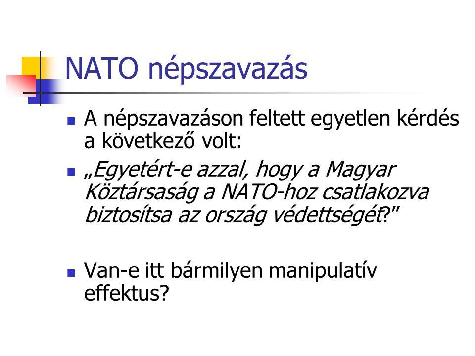 """NATO népszavazás A népszavazáson feltett egyetlen kérdés a következő volt: """"Egyetért-e azzal, hogy a Magyar Köztársaság a NATO-hoz csatlakozva biztosítsa az ország védettségét? Van-e itt bármilyen manipulatív effektus?"""