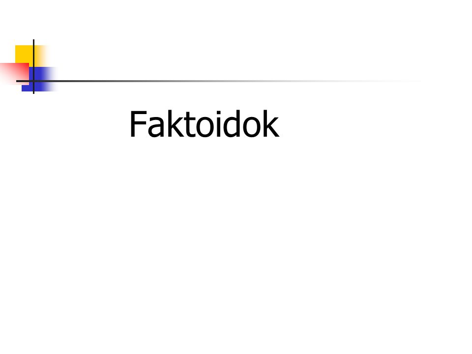 """A faktoidok A meggyőzés sikeres eszköze: faktoid A faktoid: """"Olyan tény, ami csak azóta létezik, amióta az újságokba bekerült. (Norman Mailer) Tágabban: Olyan állítás, amelyre nincs bizonyíték."""