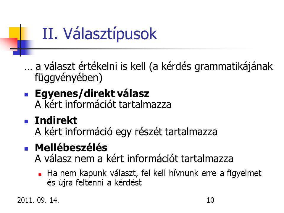 2011. 09. 14.10 II. Választípusok … a választ értékelni is kell (a kérdés grammatikájának függvényében) Egyenes/direkt válasz A kért információt tarta