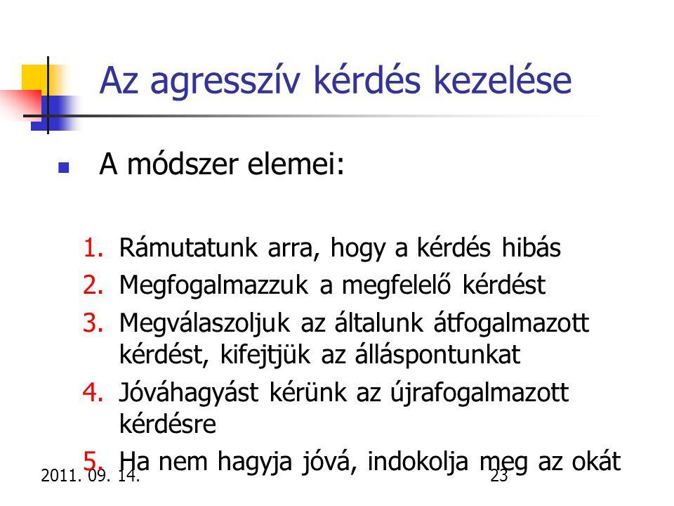 2011. 09. 14.23 Az agresszív kérdés kezelése A módszer elemei: 1.Rámutatunk arra, hogy a kérdés hibás 2.Megfogalmazzuk a megfelelő kérdést 3.Megválasz