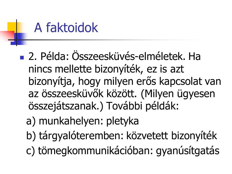 A faktoidok 2. Példa: Összeesküvés-elméletek. Ha nincs mellette bizonyíték, ez is azt bizonyítja, hogy milyen erős kapcsolat van az összeesküvők közöt