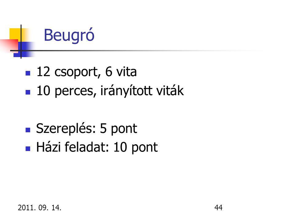 2011. 09. 14.44 Beugró 12 csoport, 6 vita 10 perces, irányított viták Szereplés: 5 pont Házi feladat: 10 pont