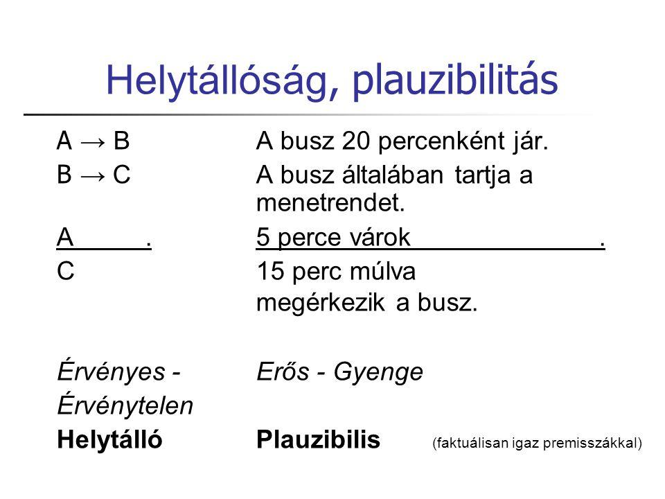 Helytállóság, plauzibilitás A → BA busz 20 percenként jár.