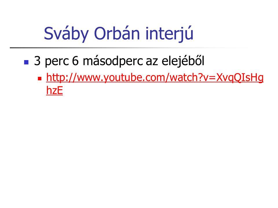 Sváby Orbán interjú 3 perc 6 másodperc az elejéből http://www.youtube.com/watch?v=XvqQIsHg hzE http://www.youtube.com/watch?v=XvqQIsHg hzE