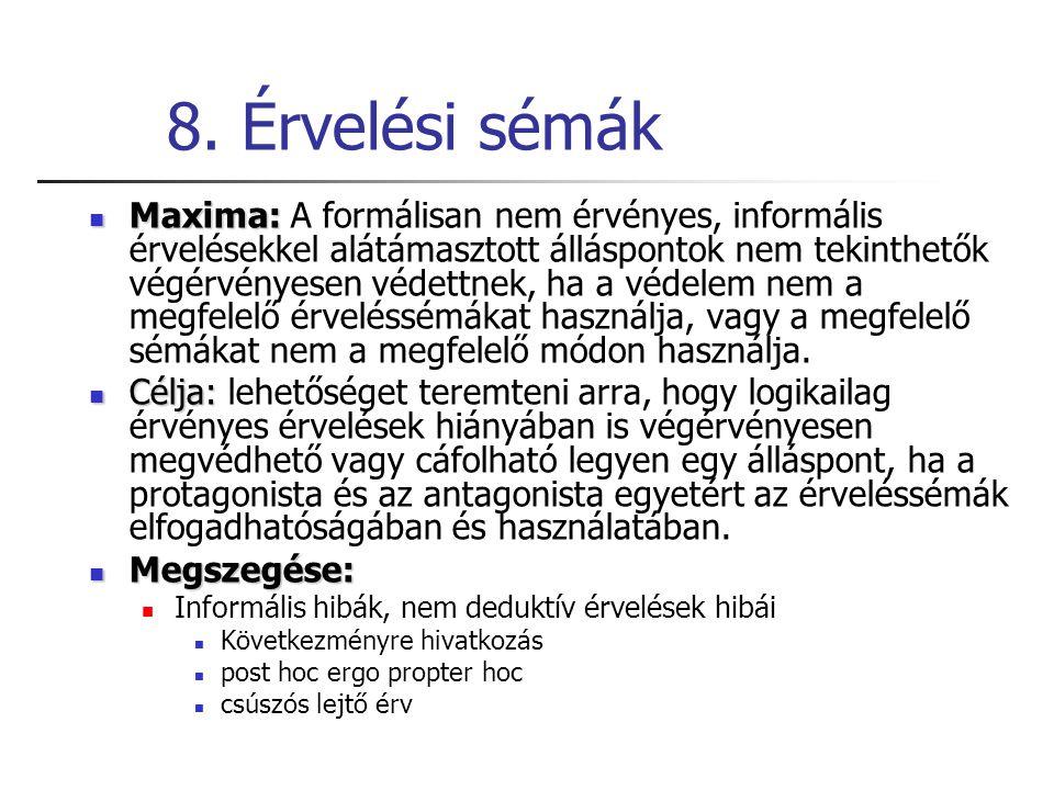 8. Érvelési sémák Maxima: Maxima: A formálisan nem érvényes, informális érvelésekkel alátámasztott álláspontok nem tekinthetők végérvényesen védettnek