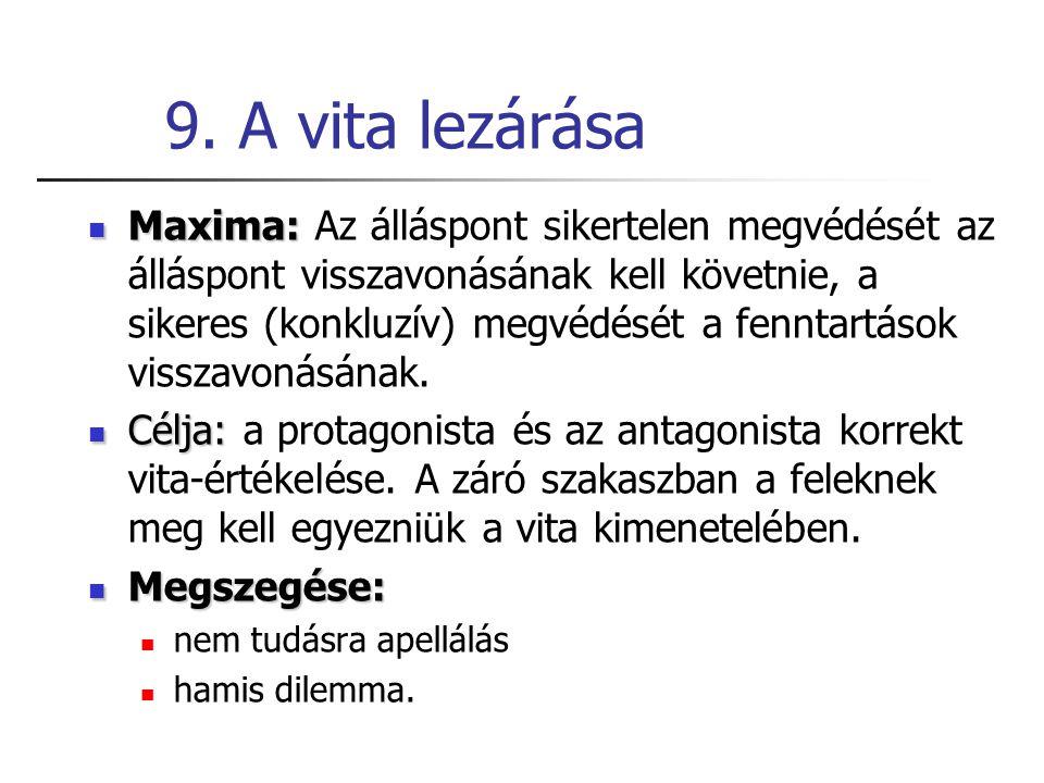 9. A vita lezárása Maxima: Maxima: Az álláspont sikertelen megvédését az álláspont visszavonásának kell követnie, a sikeres (konkluzív) megvédését a f