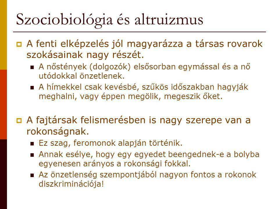 Szociobiológia és altruizmus  A fenti elképzelés jól magyarázza a társas rovarok szokásainak nagy részét. A nőstények (dolgozók) elsősorban egymással