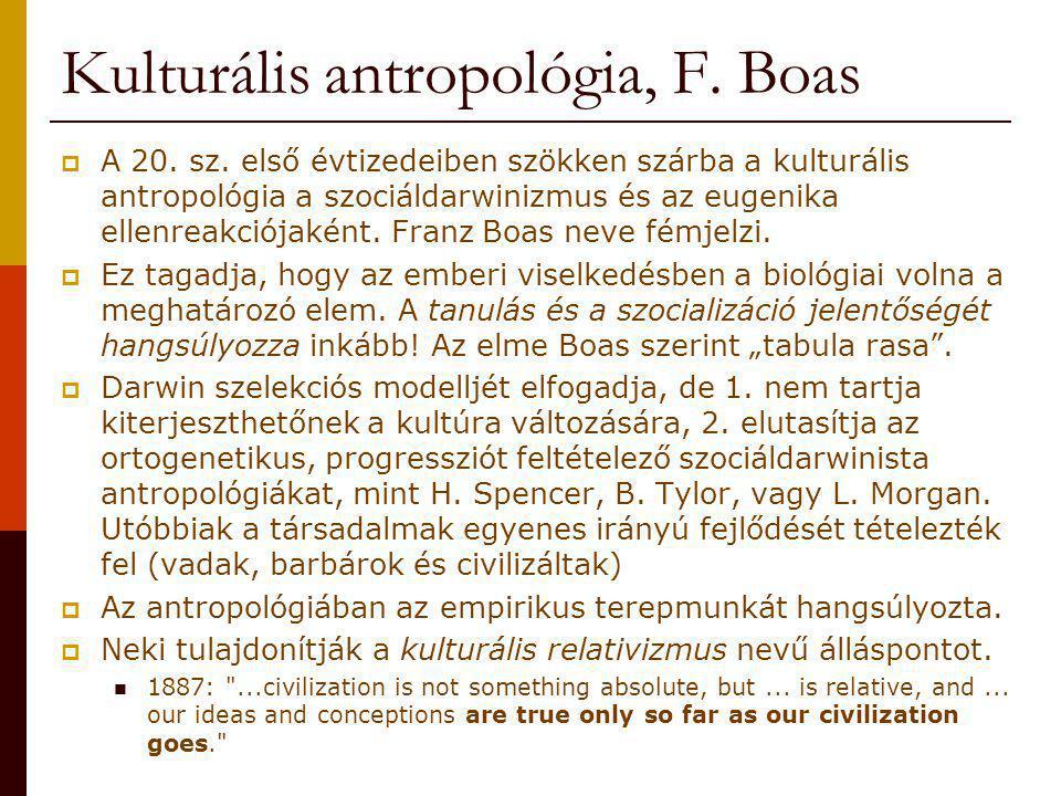 Kulturális antropológia, F. Boas  A 20. sz. első évtizedeiben szökken szárba a kulturális antropológia a szociáldarwinizmus és az eugenika ellenreakc