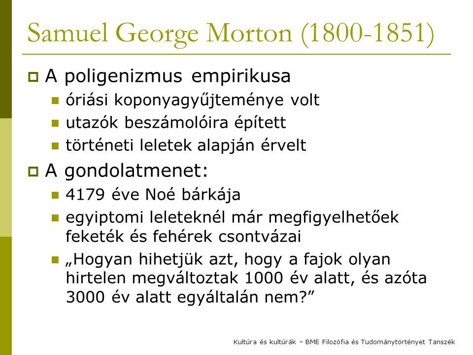 """Samuel George Morton (1800-1851)  A poligenizmus empirikusa óriási koponyagyűjteménye volt utazók beszámolóira épített történeti leletek alapján érvelt  A gondolatmenet: 4179 éve Noé bárkája egyiptomi leleteknél már megfigyelhetőek feketék és fehérek csontvázai """"Hogyan hihetjük azt, hogy a fajok olyan hirtelen megváltoztak 1000 év alatt, és azóta 3000 év alatt egyáltalán nem Kultúra és kultúrák – BME Filozófia és Tudománytörtényet Tanszék"""