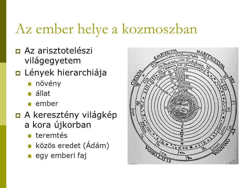Az ember helye a kozmoszban  Az arisztotelészi világegyetem  Lények hierarchiája növény állat ember  A keresztény világkép a kora újkorban teremtés közös eredet (Ádám) egy emberi faj