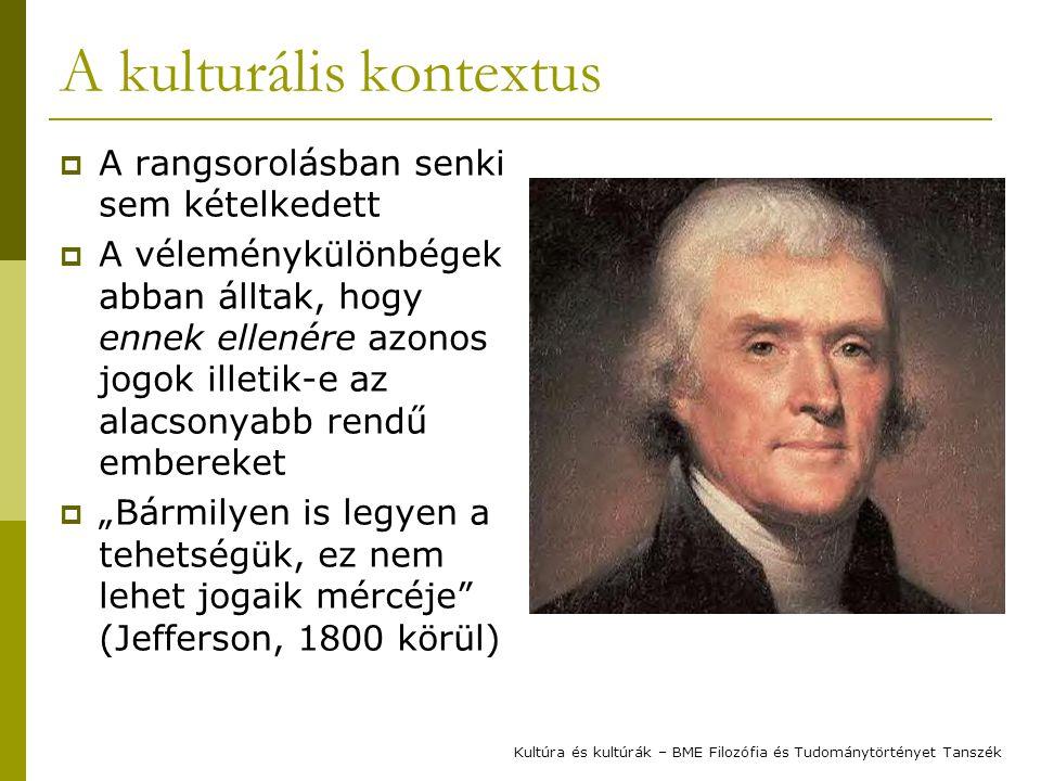 """A kulturális kontextus  A rangsorolásban senki sem kételkedett  A véleménykülönbégek abban álltak, hogy ennek ellenére azonos jogok illetik-e az alacsonyabb rendű embereket  """"Bármilyen is legyen a tehetségük, ez nem lehet jogaik mércéje (Jefferson, 1800 körül) Kultúra és kultúrák – BME Filozófia és Tudománytörtényet Tanszék"""
