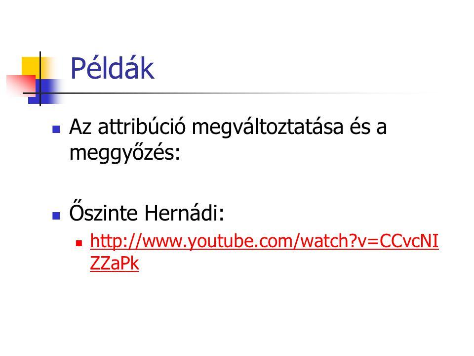 Példák Az attribúció megváltoztatása és a meggyőzés: Őszinte Hernádi: http://www.youtube.com/watch?v=CCvcNI ZZaPk http://www.youtube.com/watch?v=CCvcN