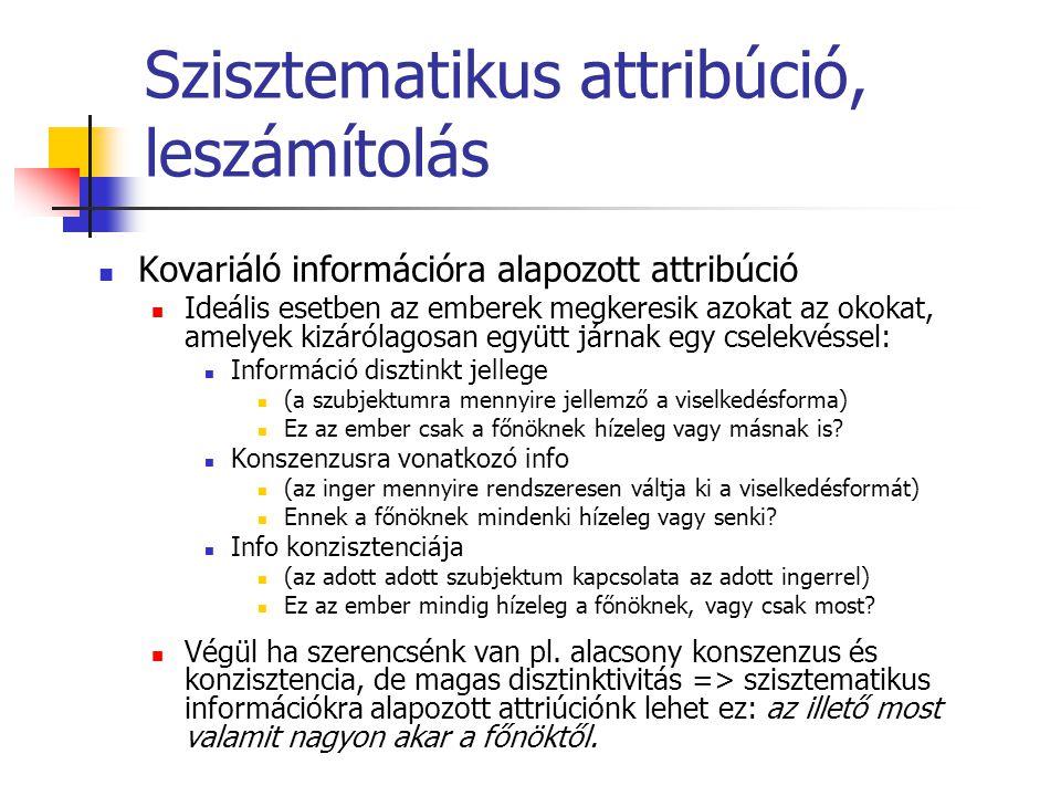 Szisztematikus attribúció, leszámítolás Kovariáló információra alapozott attribúció Ideális esetben az emberek megkeresik azokat az okokat, amelyek ki