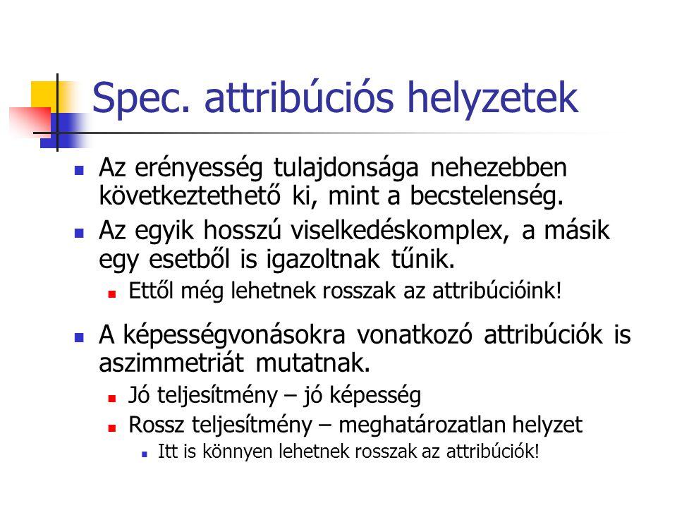 Spec. attribúciós helyzetek Az erényesség tulajdonsága nehezebben következtethető ki, mint a becstelenség. Az egyik hosszú viselkedéskomplex, a másik