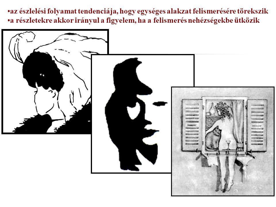 az észlelési folyamat tendenciája, hogy egységes alakzat felismerésére törekszik a részletekre akkor irányul a figyelem, ha a felismerés nehézségekbe