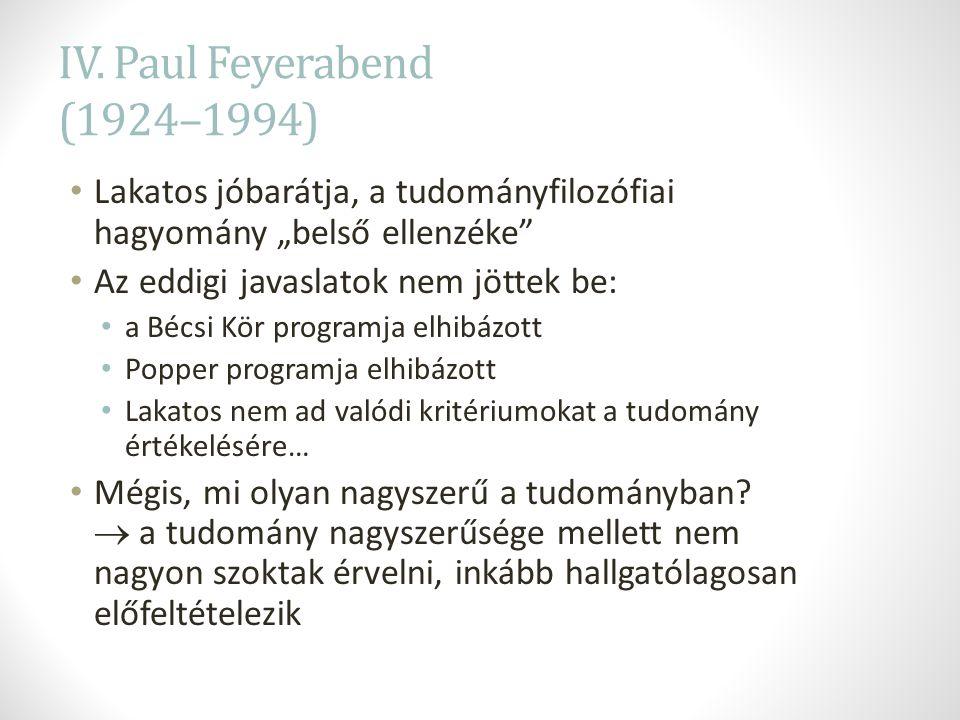 """IV. Paul Feyerabend (1924–1994) Lakatos jóbarátja, a tudományfilozófiai hagyomány """"belső ellenzéke"""" Az eddigi javaslatok nem jöttek be: a Bécsi Kör pr"""