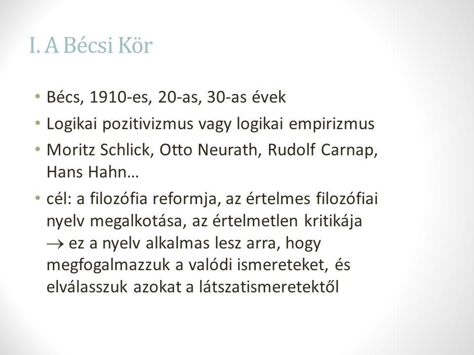 I. A Bécsi Kör Bécs, 1910-es, 20-as, 30-as évek Logikai pozitivizmus vagy logikai empirizmus Moritz Schlick, Otto Neurath, Rudolf Carnap, Hans Hahn… c