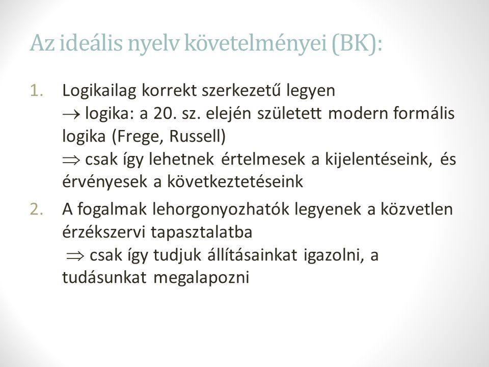 Az ideális nyelv követelményei (BK): 1.Logikailag korrekt szerkezetű legyen  logika: a 20.