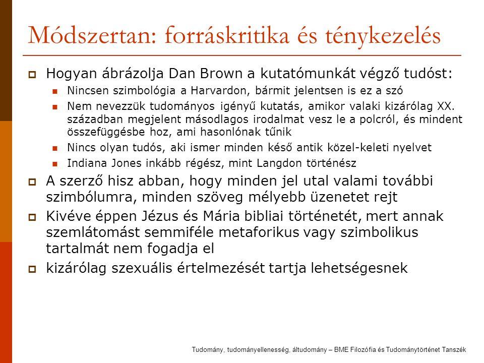 Módszertan: forráskritika és ténykezelés  Hogyan ábrázolja Dan Brown a kutatómunkát végző tudóst: Nincsen szimbológia a Harvardon, bármit jelentsen i