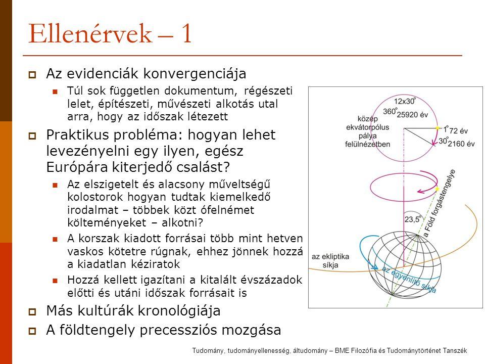 Ellenérvek – 1  Az evidenciák konvergenciája Túl sok független dokumentum, régészeti lelet, építészeti, művészeti alkotás utal arra, hogy az időszak