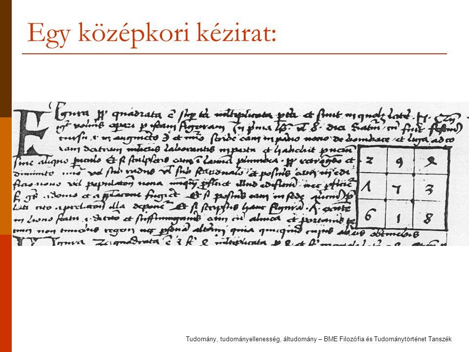 Egy középkori kézirat: Tudomány, tudományellenesség, áltudomány – BME Filozófia és Tudománytörténet Tanszék