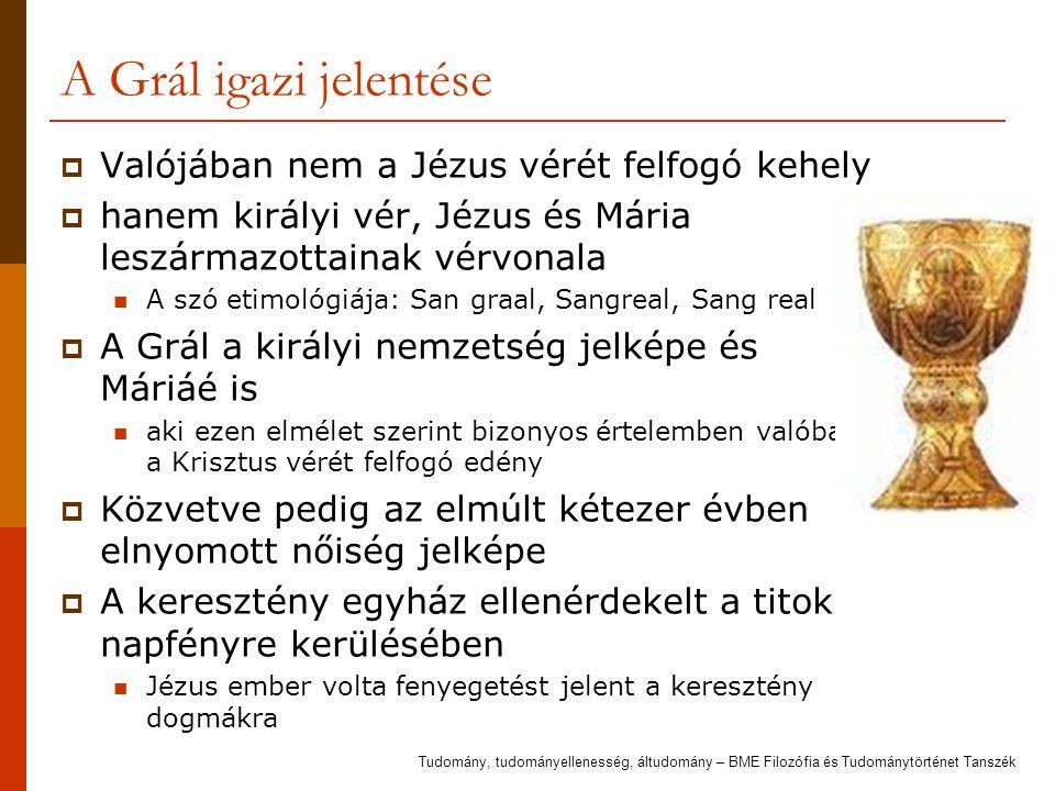 A Grál igazi jelentése  Valójában nem a Jézus vérét felfogó kehely  hanem királyi vér, Jézus és Mária leszármazottainak vérvonala A szó etimológiája