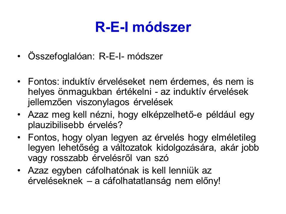 R-E-I módszer Összefoglalóan: R-E-I- módszer Fontos: induktív érveléseket nem érdemes, és nem is helyes önmagukban értékelni - az induktív érvelések j