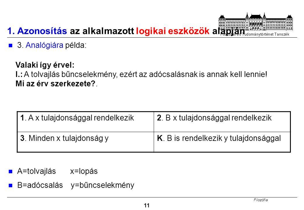 Filozófia 11 1.Azonosítás az alkalmazott logikai eszközök alapján 3.