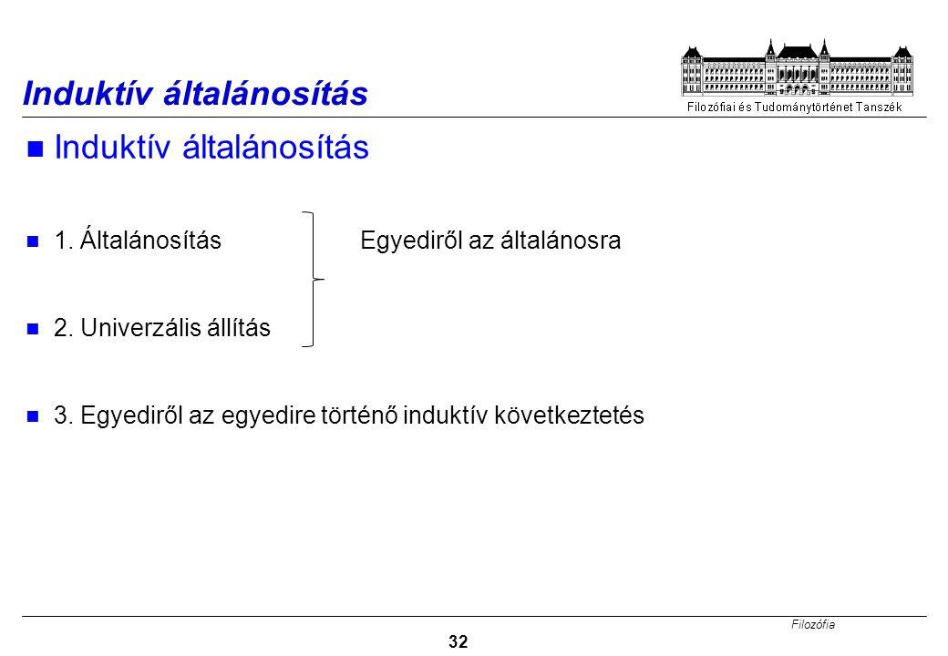 Filozófia 32 Induktív általánosítás 1.Általánosítás Egyediről az általánosra 2.