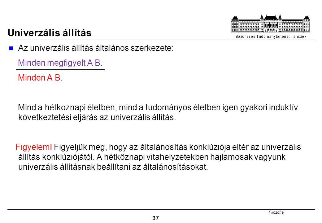 Filozófia 37 Univerzális állítás Az univerzális állítás általános szerkezete: Minden megfigyelt A B.