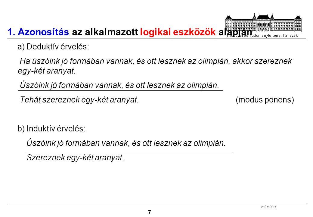 Filozófia 38 Egyediről az egyedire történő induktív következtetés A: Kérdezzük meg Giorgiót, nincs-e kedve velünk jönni a Tátrába síelni.