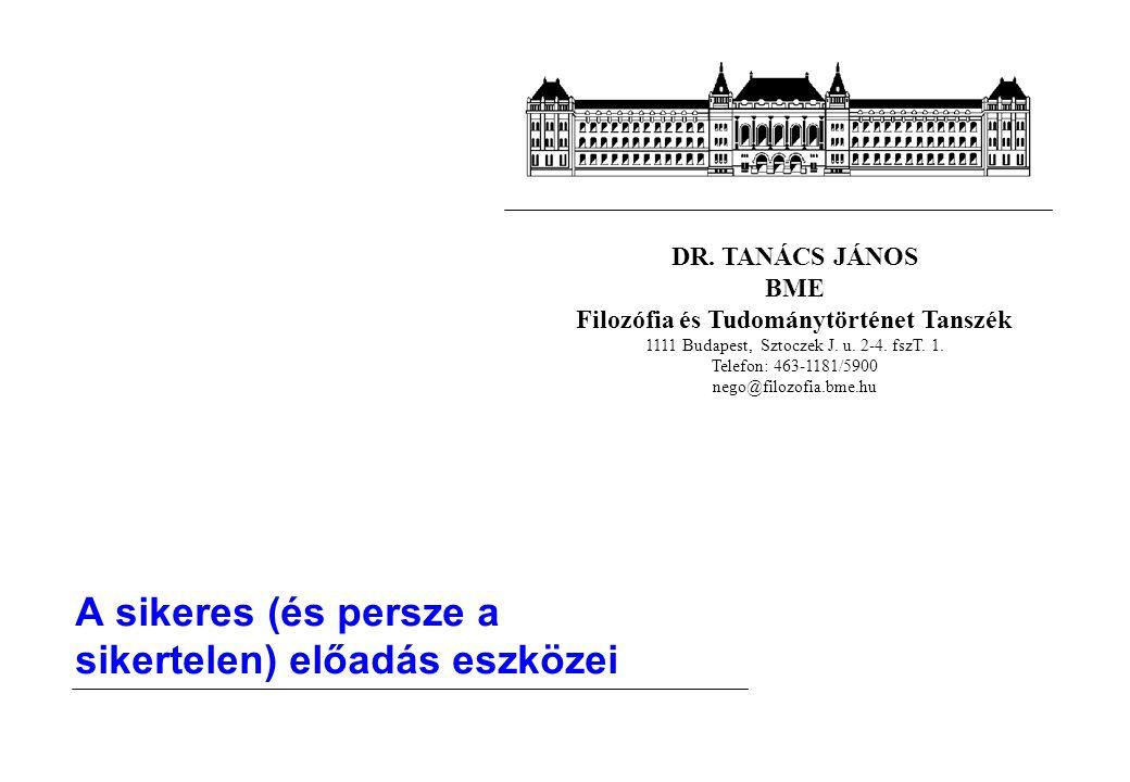 DR. TANÁCS JÁNOS BME Filozófia és Tudománytörténet Tanszék 1111 Budapest, Sztoczek J. u. 2-4. fszT. 1. Telefon: 463-1181/5900 nego@filozofia.bme.hu A