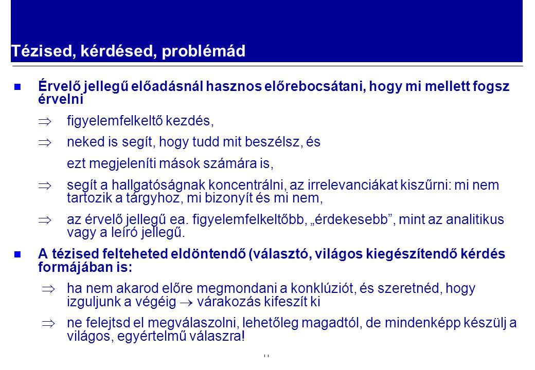 2008.02.05. Előadástechnika 11 Tézised, kérdésed, problémád Érvelő jellegű előadásnál hasznos előrebocsátani, hogy mi mellett fogsz érvelni  figyelem