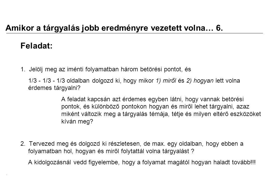 2008.02.05.Tárgyalástechnika 11 Amikor a tárgyalás jobb eredményre vezetett volna… 7.