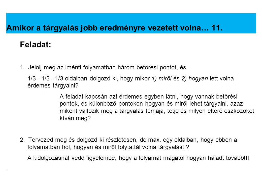 2008.02.05.Tárgyalástechnika 16 Feladat: 3.
