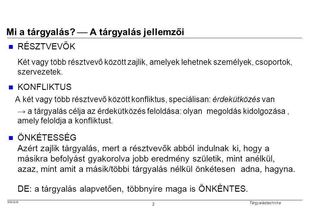2008.02.05.Tárgyalástechnika 3 Mi a tárgyalás.  A tárgyalás jellemzői 2.