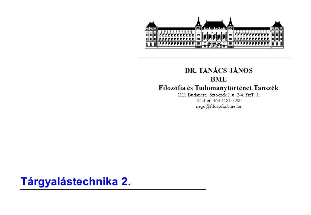 DR.TANÁCS JÁNOS BME Filozófia és Tudománytörténet Tanszék 1111 Budapest, Sztoczek J.
