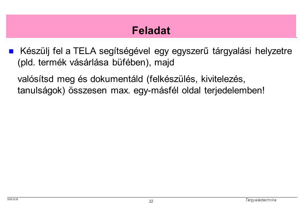 2008.02.05. Tárgyalástechnika 22 Feladat Készülj fel a TELA segítségével egy egyszerű tárgyalási helyzetre (pld. termék vásárlása büfében), majd valós