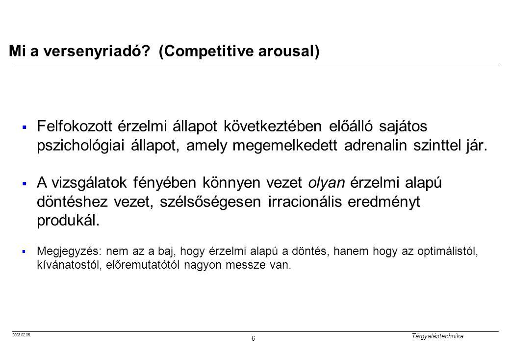 2008.02.05. Tárgyalástechnika 6 Mi a versenyriadó? (Competitive arousal)  Felfokozott érzelmi állapot következtében előálló sajátos pszichológiai áll